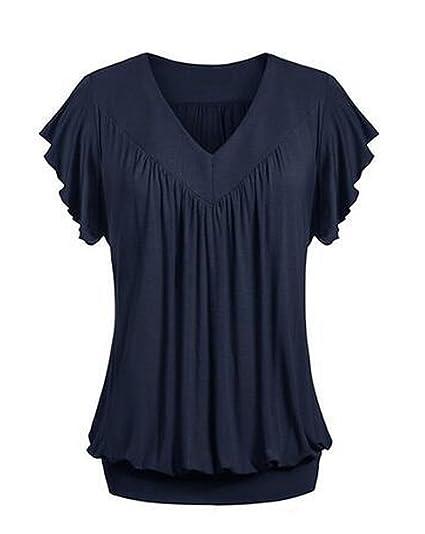 Targogo Camisetas Mujer Verano Elegantes Manga Corta V Cuello T Shirt Slim Fit Sencillos Color Solido