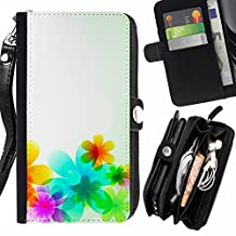 Vibrant Fashion Floral Teal Blossom - Flip Credit Card Slots Pu Holster Leather Wallet Pouch Protective Skin Case Cover For Sony Xperia T3