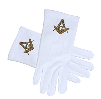 Masonic Regalia - Standard Gold Style Compass Face Cotton Gloves - White  (One Size Fits Most)  Masonic Clothing and Formal Attire