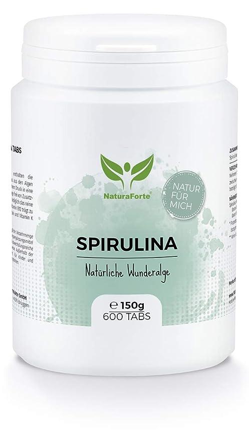 NaturaForte Espirulina Natural en Comprimidos 600uds. de 250mg. Reduce Apetito, Aumento Energía. Magnesio, Fibra, Proteínas, Hierro y Clorofila. Apto ...