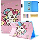 Coopts Case for All-New Amazon Fire HD 10 Tablet (7th Generation, 2017 Release) - [Multi-Angle Viewing] Folio Stand Cover with Pocket Auto Wake/Sleep for Fire HD 10.1 Inch Tablet, Candy Unicorn