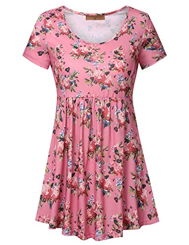Meow Meow Lace MML Womens Scoop Neck Short Sleeve Print Tunic Tops Empire Waist Peplum Blouse Pink XL