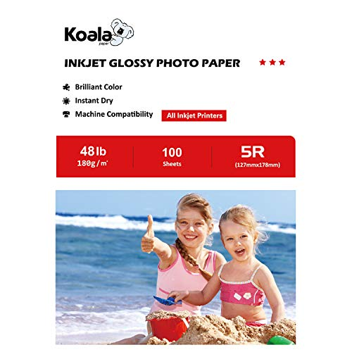 (Koala High Glossy Inkjet Photo Paper for inkjet printing 5x7 Inches 100 Sheets,180gsm)