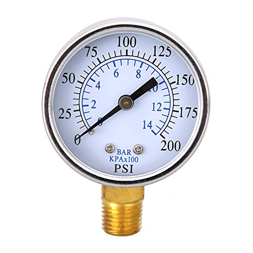 Chrome Water Temperature Gauge (Awakingdemi Water Pressure Gauge, Air Pressure Gauge,1/4 inch NPT Side Mount inchFace 10Bar Compressor Compressed Air Pressu)
