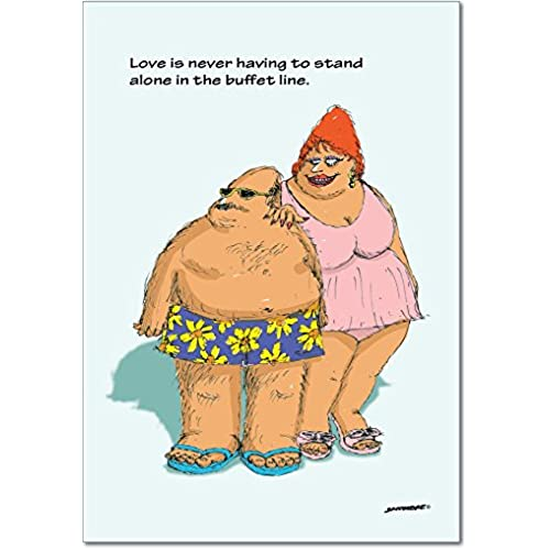 NobleWorks 2051 Buffet Line Funny Valentine's Day Unique Greeting Card, 5 x 7 Sales