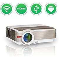 EUG LCD HD WXGA Wireless Android Projector Video Home Theater 4200 Lumen Support 1080p Airplay iPad Smartphone Projector HDMI Wi-Fi Connectivity Multimedia Digital Proyector for Outside/Inside