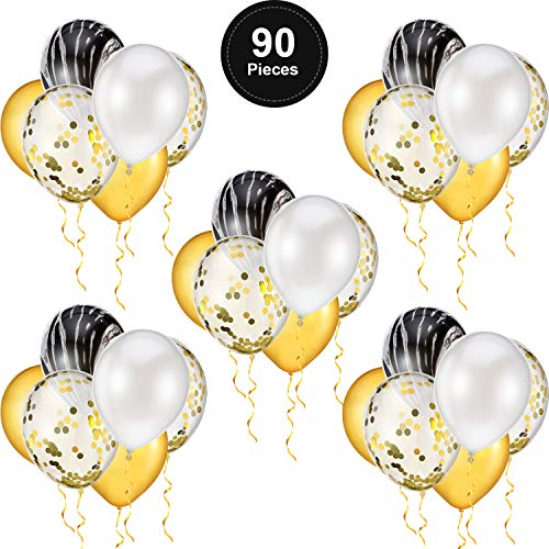 90 Pieces 12 Inch Black Agate Marble Balloon Set, Gold Confetti Balloon, Black, Gold and White Latex Balloons for Birthday Party Wedding Baby Showers Graduation Decorations