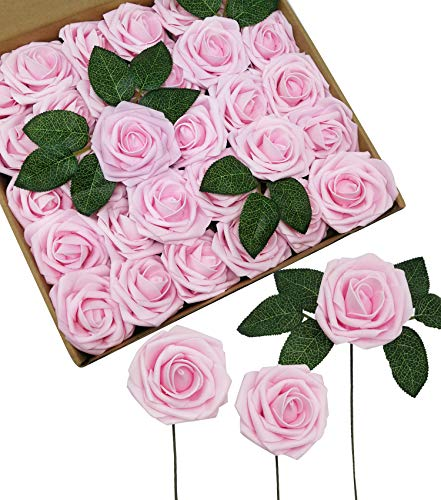 D-Seven Artificial Flowers 30PCS Real Looking Fake Roses with Stem for DIY Wedding Bouquets Centerpieces Party Baby Shower Home Decorations (Light - Pink Light Rose