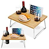 Lisuu Portable and Foldable Picnic Table, Bamboo Picnic Wine Table, Mini bar Picnic Wine&Snacks Table Outdoor on The Beach and Park or Indoor on The Bed-2 Positions