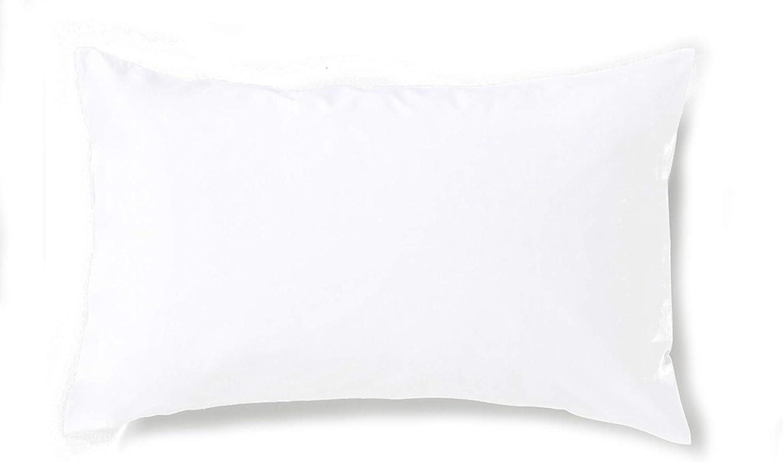 Carrefour Tex - Funda de Almohada de Algodón Percal Bio 45 x 75 cm Blanco