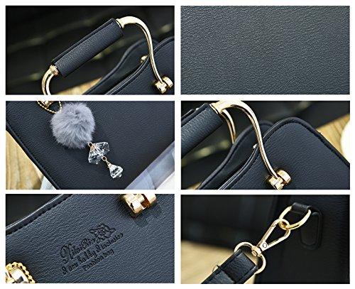 Tibes Sacchetti di spalla impermeabili Borse per donne Sacchetti crossbody Black
