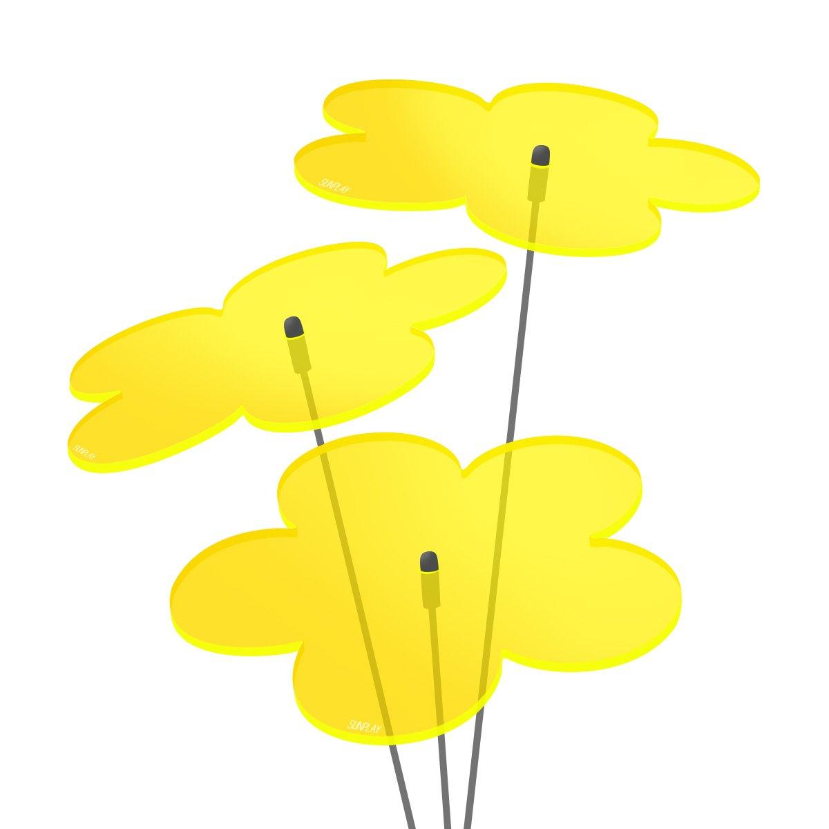 SUNPLAY Sonnenfänger Blumen in GELB, 3 Stück je 10 cm Durchmesser im Set + 35 cm Schwingstäbe