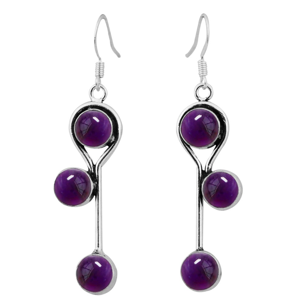 8.50ctw, Genuine Amethyst & 925 Silver Plated Dangle Earrings Made By Sterling Silver Jewelry
