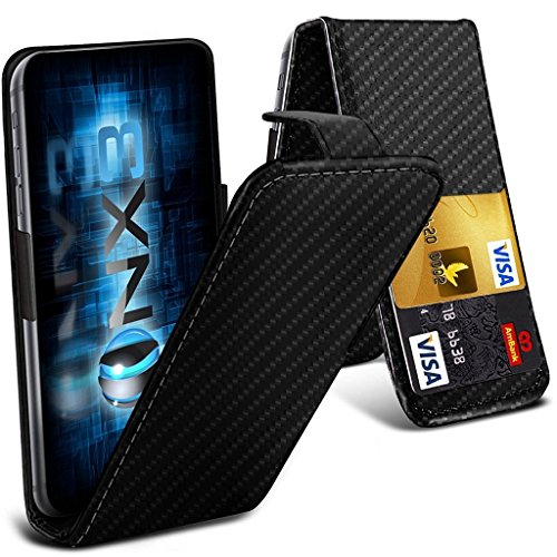 ONX3 (Carbon Fibre) Intex Aqua Classic 2 Universal Luxury Style Folding PU Leather Spring Clamp Holder Top Flip Case with 2 Cards Slot, Slide Up and Down Camera