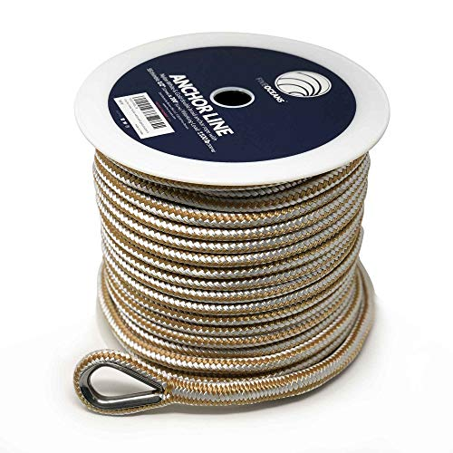Five Oceans Nylon Double Braided Anchor Rope Line with Thimble 1/2