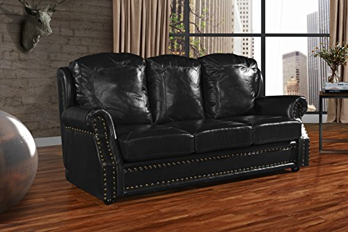 Leather Match Sofa 3 Seater, Living Room Couch with Nailhead Trim (Black) (Sofa Material Chesterfield)