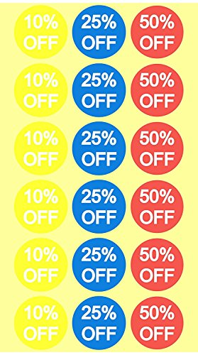 Sticker 10 (10% 25% 50% Off Sale Price Stickers Labels Percent Off Stickers for Retail Store Clearance Promotion Discount Deals Circle Pricemarker Half Off Labels Stickers roll 1500 (3/4 inch, Multi))