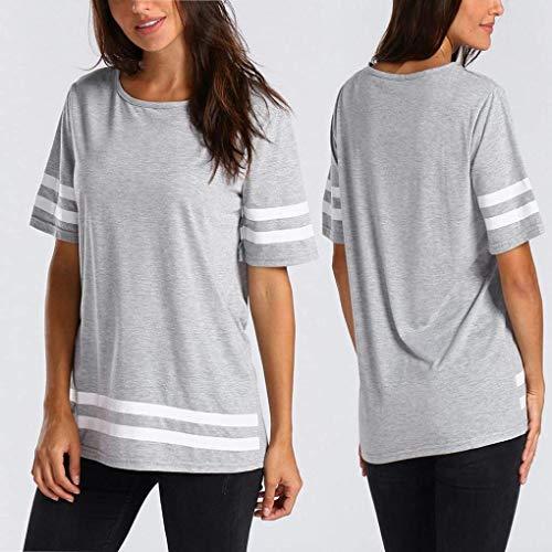 Elgante Chic Tee Costume Shirts Courtes Haut Shirt Shirt Fille Basic Loisir O Large Sport Grau Et Ar Manches Femme Col tqgqrU