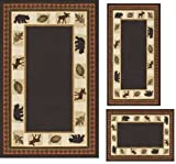 MODERN Lodge Cabin Moose Baby Bear 3 PIECE AREA RUG SET Black(s31)