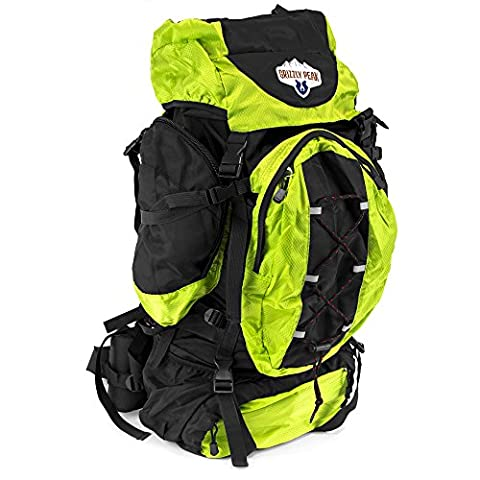 70L Internal Frame Hiking and Camping Daypack Backpack with Ripstop Water-Resistant Nylon (Lime) - Internal Stop
