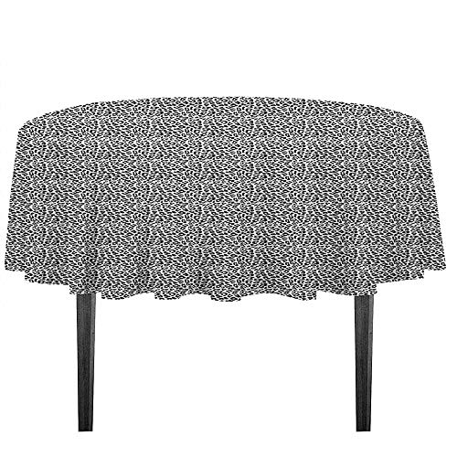 kangkaishi Leopard Print Printed Tablecloth Black and White Graphic Style Wild Jungle Animal Abstract Skin with Spots Outdoor and Indoor use D59.05 Inch Black White