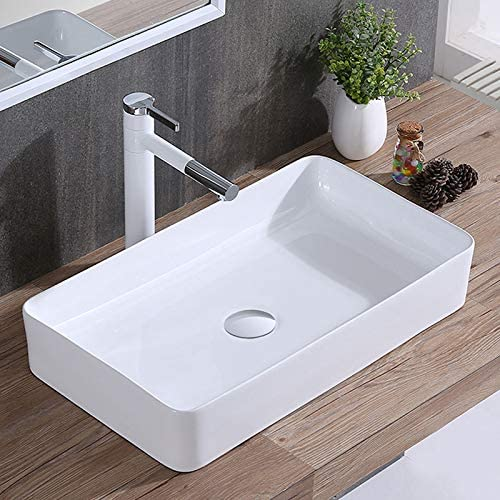 Modern Rectangle Porcelain Above Counter White Ceramic Bathroom Vessel Sink E-CL-1320