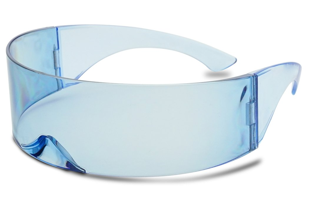 SunglassUP - Wrapped Around Futuristic Cyclops Mirror Single Lens1 Piece PC Sunglasses (Light Blue, Light Blue)