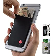 Gecko Adhesive Phone Wallet & RFID Blocking Sleeve, a Stick-On Stretchy Lycra Card holder Universally fits most Cell Phones & Cases. Xtra Tall Pocket Totally Covers Credit Cards & Cash - CANADA FLAG