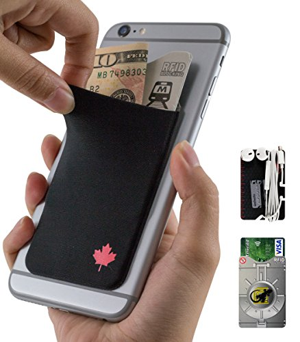 Phone Wallet - Adhesive Card Holder - Cell Phone Pouch - Stick on Lycra Pocket by Gecko - Carry Credit Cards and Cash - RFID Protection Sleeve – CANADA - Policy Canada Apple Return