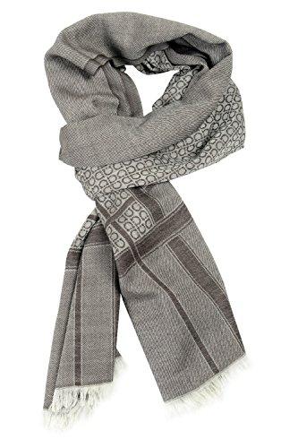(Salvatore Ferragamo Wool Cashmere Multi-Color Logo Printed Unisex Scarf)