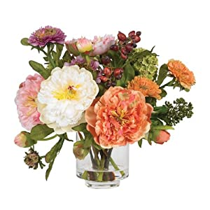 Nearly Natural 4689 Peony Silk Arrangement, Assorted 11