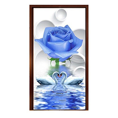 Blue Rose and Swans 5D Diamond Painting Kit Partial Drilled DIY Handmade Rhinestone Embroidery Cross-Stitching Set Mosaic Home Room Decor