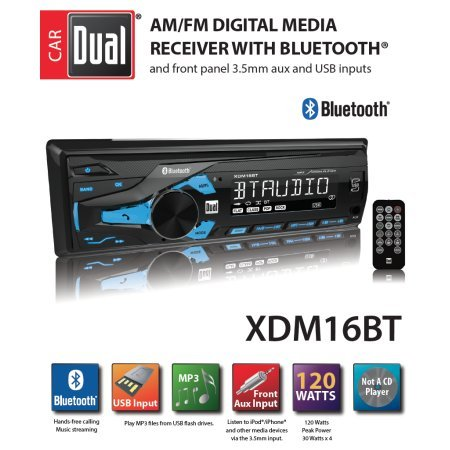 High Resolution Single - Dual AM/FM Digital Media Car Stereo with Bluetooth xdm16bt Radio