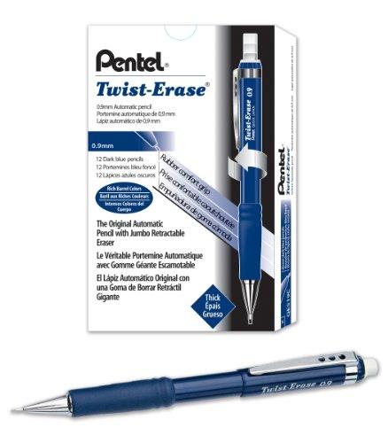 Pentel Twist-Erase III Mechanical Pencil (0.9mm) Blue Barrel, 12 Pack (Qe519c Twist)