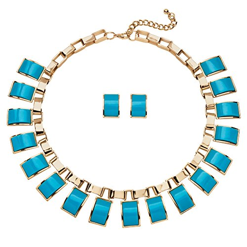 - Gold Tone Button Earrings and Necklace Set, Rectangular Turquoise Lucite, 16
