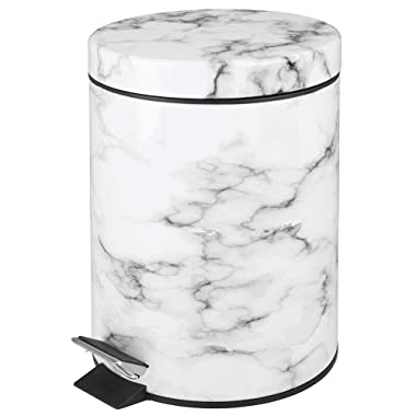 mDesign 5 Liter Round Small Step Trash Can Wastebasket, Garbage Container Bin for Bathroom, Powder Room, Bedroom, Kitchen, Craft Room, Office - Removable Liner Bucket, Hands-Free Design - Marble Print