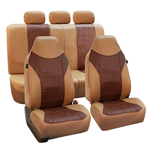 FH Group FH-PU160115 PU Textured High Back Leather Seat Covers, Brown/Beige (Airbag compatible & Split Bench) W Fit Most Car, Truck, Suv, or Van