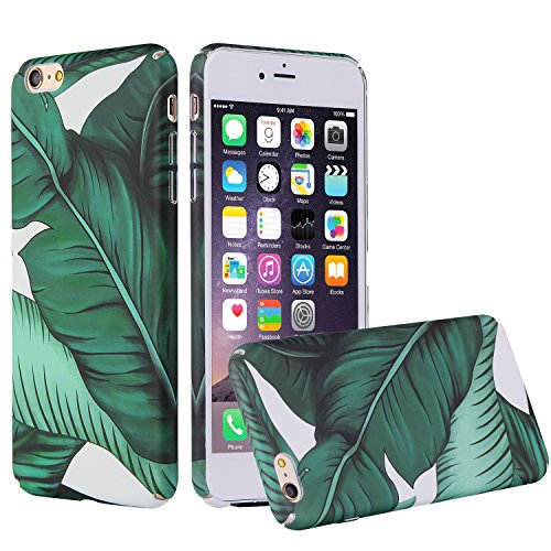 Floral iPhone 6 Case, iPhone 6s Case, Easeu Banana Leaves Tropical Green Hawaii Summer Holiday Style Matt Slim-Fit Shock Proof Snap Hard Case for iPhone 6/iPhone 6s (4.7 inch)