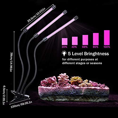 Winjoy Grow Light, 30W LED Grow Lamp Bulbs Plant Lights Full Spectrum, Auto ON Off with 3 6 12H Timer 5 Dimmable Levels Clip-On Desk Grow Lamp, Triple Head Adjustable Gooseneck for Indoor Plants
