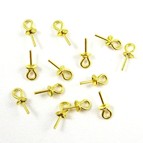 Vermeil, 18k Gold Plated Over Sterling Silver Peg Bail Caps for Half Drilled Pearls and Beads (20 Pcs) (Cap Pearl Drop)