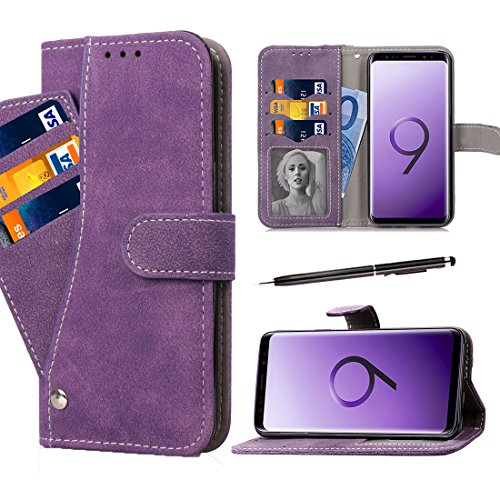 Galaxy S9 Plus Wallet Case, GZIRUE [Stand Feature] Magnetic Flap Closure Suede Leather Folio Flip Soft Silicone Shockproof Case Cover with Rotate Card Holder for Galaxy S9 Plus (Purple)