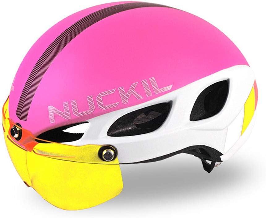 男性の女性のためのゴーグル換気一体成形スポーツサイクリングヘルメット通気性快適な道路自転車ヘルメットとバイクヘルメット,ピンク ピンク