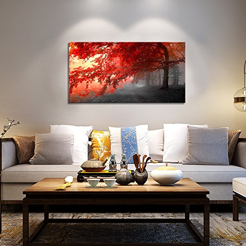 wall art Stretched Framed Ready Hang Flower Landscape Red Tree Flower Modern Painting Canvas Living Room Bedroom Office Wall Art Home Decoration by youkiswall art (Image #3)
