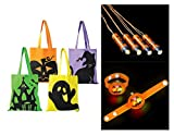 Trick or Treat Kit, Halloween Safety Set Includes 4 Candy Tote Bags, 4 Light Up Jack-O-Lantern Bracelets, and 4 Halloween Flashlight Necklaces by M & M Products Online