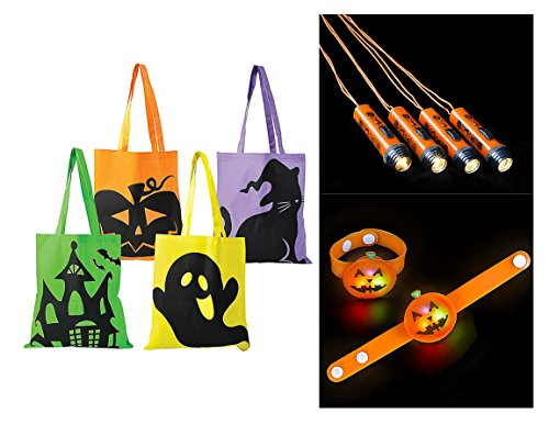 M & M Products Online Trick or Treat Kit, Halloween Safety Set Includes 4 Candy Tote Bags, 4 Light Up Jack-O-Lantern Bracelets, and 4 Halloween Flashlight Necklaces -