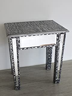 Wonderful Silver Embossed Mirrored Lamp Table Or Occasional Table