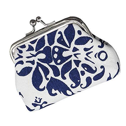 (Ladies Flower Print Wallet Credit Card Holders Oxford Wallet Large Capacity Purse Metal Frame Kissing Lock Coin Mini Vintage Clutc)