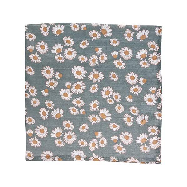 Daisy (Storm Blue) – Muslin Swaddle Blanket, Newborn Essentials Wrap for Girls, Floral Infant Receiving Cover – Best for Baby Shower Registry Gift