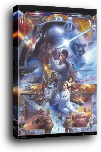 1Art1  Star Wars Wood Mounted Poster   30Th Anniversary  36 X 24 Inches