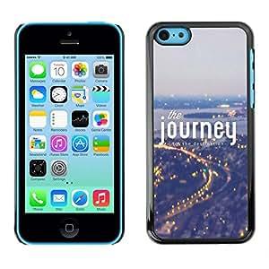 Caucho caso de Shell duro de la cubierta de accesorios de protección BY RAYDREAMMM - Apple iPhone 5C - Journey Fog Blue City Lights Travelling
